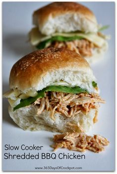 An easy 5 ingredient recipe for Slow Cooker Shredded BBQ Chicken.  Serve the tender meat on slider buns, salad or even pizza!  Easy dinner t...