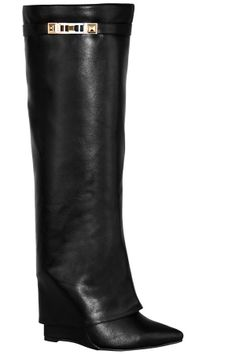 BLACK FAUX LEATHER SIDE BUCKLE ACCENT OVERLAPPING LOOK POINTED KNEE HIGH  WEDGE BOOT
