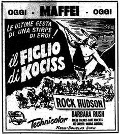 """""""Il figlio di Kociss"""" (Taza, Son of Cochise, 1954) di Douglas Sirk, con Rock Hudson e Barbara Rush. Italian release: February 9, 1955 #MoviePosters #WesterMovies #RockHudson #Cochise"""