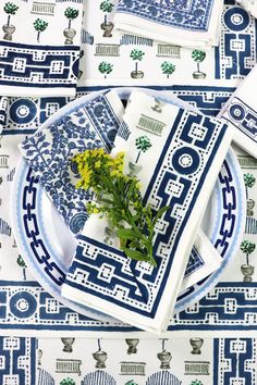 Our Topiary Jade & Indigo Tablecloth is covered with botanical topiaries and motifs and surrounded by a bold geometric border that add a vibrant touch to the table for both everyday dining and special occasions. Topiaries, Table Linens, Tabletop, Jade, Indigo, Special Occasion, Vibrant, Dining Room, Touch