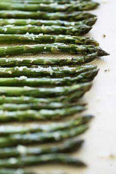 Roasted Asparagus: 1 1/2 lbs asparagus, 2 TBS olive oil, salt & pepper, 1 tsp thyme. Roast @ 400 12-15 mins.