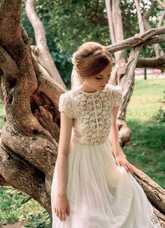 Dress Boho wedding dress - The perfect wedding dress in warm white color. The top and the bottom of the skirt trimmed with lace. Top translucent, skirt with lining. A little high waist and full skirt. Elegant Wedding Gowns, Elegant Dresses, Vintage Dresses, Lace Wedding, Dress Wedding, Wedding White, Vintage Bride Dress, Spring Wedding, Wedding Ceremony