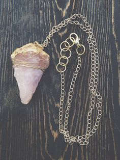 Raw Rose Quartz Necklace  Raw Crystal Jewelry  by GaudyintheRaw