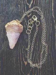 Raw Rose Quartz Necklace  Raw Crystal Jewelry  by GaudyintheRaw