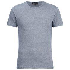 A.P.C. Men's Jeremie T-Shirt - Bleu Acier ($94) ❤ liked on Polyvore featuring men's fashion, men's clothing, men's shirts, men's t-shirts, blue, mens blue t shirt, mens blue shirt and mens t shirts