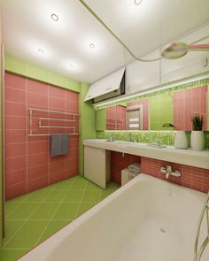 Green And Red Bathroom