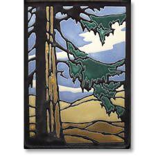 """Motawi Tile: Redwood  6"""" x 8"""" x 0.6"""" decorative ceramic tile  Hanging notch on back.  $86.00"""