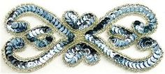 """Designer Motif with Ice Blue Sequins Silver Beads 5.5"""" x 2.5"""""""