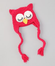 Take a look at this Hot Pink Owl Crochet Earflap Beanie by Super Twirl & Sweet Tweet Bowtique on #zulily today!