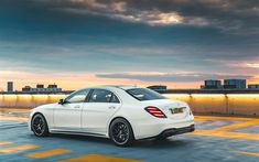 Download wallpapers 4k, Mercedes-Benz S63 AMG, parking, 2018 cars, w222, rear view, tuning S-class, german cars, Mercedes