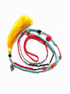 Multicolor Long Tassel Necklace by HippieThings on Etsy, $16.00