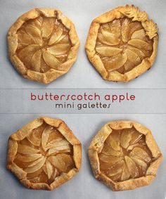 Butterscotch apple mini galettes from Bakerella by Angie Dudley and Todd Porter and Diane Cu Köstliche Desserts, Delicious Desserts, Dessert Recipes, Yummy Food, Fancy Desserts, Mini Apple, Apple Pies, Bakerella, Mets
