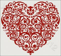 Heart with swirls No2 cross stitch | Yiotas XStitch  All I need is to revisit a hobby from years ago.  Love hearts, love Valentine's Day...