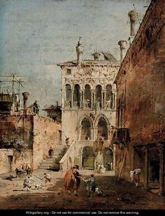 Francesco Guardi (Italian: 1712 – 1793) - An architectural capriccio with a campiello