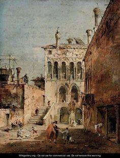 Francesco Guardi (Italian: 1712 – 1793) - An architectural capriccio with a campiello