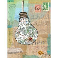 """Un poster comme un carnet de voyage: l'affiche """"Capsule Map"""" 50 x 65 cm. Une bicyclette vintage voyageant sur une carte de France encapsulée...  Cette affiche a été imprimée en France, sur papier recyclé."""