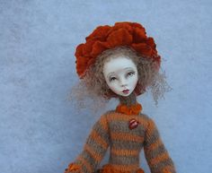 Autumn Art doll OOAK doll Paper clay doll Handmade by JuraD, $175.00