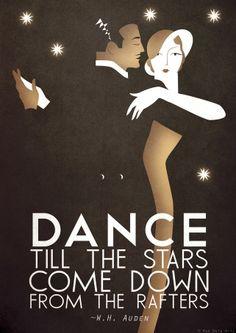Original Design Art Deco Bauhaus Poster Print, Vintage Dance Tango Themed, W. Auden Quote via Etsy. Dance until the cows come home. Kunst Poster, Poster S, Poster Prints, Art Print, Art Deco Illustration, Art Nouveau, Vintage Glam, Vintage Vogue, Etsy Vintage