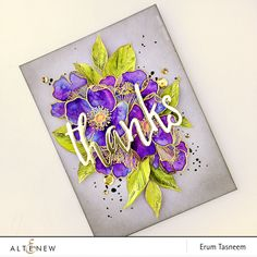 Altenew Adore You stamp set watercoloured using Gansai Tambi watercolours and Thanks die by pr0digy0