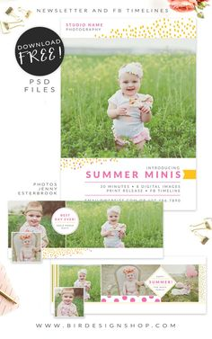 Ready for Summer?Prepare your summer mini sessions and campaigns with these sweet freebies!A marketing board to customize and have it published on your blog, Fa