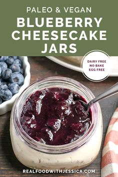 These Paleo Blueberry Cheesecake Jars are the perfect individual dessert. No-bak… These Paleo Blueberry Cheesecake Jars are the perfect individual dessert. No-bake, easy to make and so delicious. Vegan, dairy free, and naturally sweetened. Paleo Dessert, Healthy Dessert Recipes, Gluten Free Desserts, Dairy Free Recipes, Healthy Desserts, Real Food Recipes, Paleo Recipes, Meal Recipes, Brunch Recipes