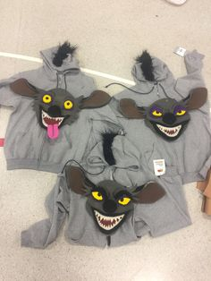 We could use grey hoodies with black fur on them as part of the hyena costumes like in this picture. Hyena Lion King, Lion King Play, Lion King Show, Lion King Animals, Lion King Jr, Timon Und Pumbaa, Simba Und Nala, Rafiki Costume, Lion King Costume