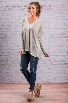 """""""Totally Chilled Top, Cool Gray""""This top is totally chilled out and can help you do the same! We love that this top gives you the freedom to choose whether you want to wear it with jeans or leggings! #newarrivals #shopthemint"""