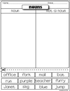 The Lesson Plan Diva: Freebies Noun/ not a noun sorting activity 6th Grade Writing, 2nd Grade Ela, 2nd Grade Classroom, First Grade Reading, Writing Practice, Teaching Writing, Student Teaching, Parts Of Speech Worksheets, Reading Tutoring