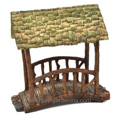 CLOSEOUT AGED Dollhouse Miniature Fairy Garden Metal Arched Bridge w// stake