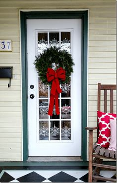 Holiday Door Decor - Snowflakes and Wreath