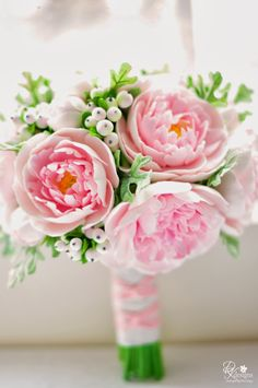 Clay flowers by DK Designs - pink peony, snow berry and Dusty Miller bridal bouquet.