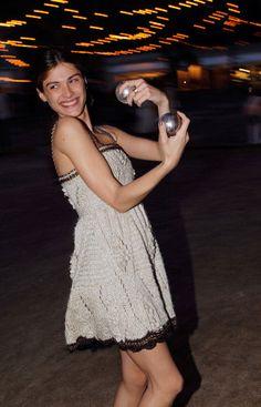 Elisa Sednaoui in a crochet dress by Karl Lagerfeld