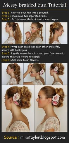Beauty Tutorials: Hair tutorials -- cute bun! Great for when I'm at work... would still look pretty under my ugly hair net.