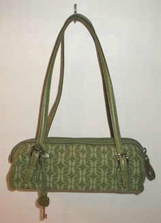 f831954b04e Fossil Green Canvas Signature Print Satchel Purse Leather Trim   eBay