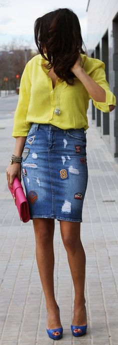 Such a simple, retro look...lovin' the skirt!  Zara Blue Ripped Pencil Patched Denim Skirt by Farabian