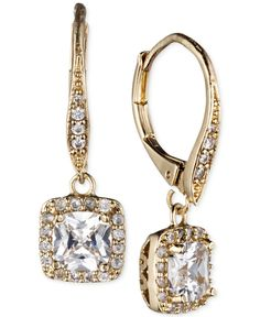 Anne Klein Gold-Tone Pave Crystal Drop Earrings