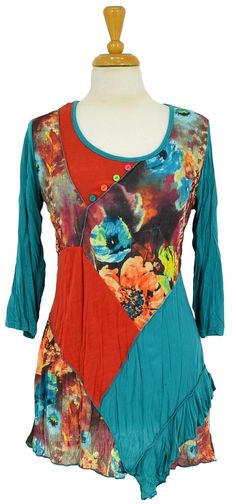 Rust Floral Patch Tunic @ilovetunics.com