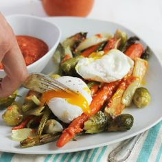 Farm Veggies with Romesco Sauce and Poached Eggs! The perfect brunch.