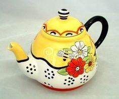 Bee Ceramic Tea Pot Flowers Red Yellow White Black 3 D 1 5 Qt | eBay