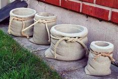 concrete planters look like burlap pouches . A tutorial for making concrete bags! concrete planters look like burlap pouches . A tutorial for making concrete bags! concrete planters: looks like cloth grain sacks with hemp rope and everything. Poured Concrete Patio, Concrete Bags, Diy Concrete Planters, Concrete Crafts, Concrete Garden, Diy Planters, Garden Planters, Succulent Planters, Balcony Garden