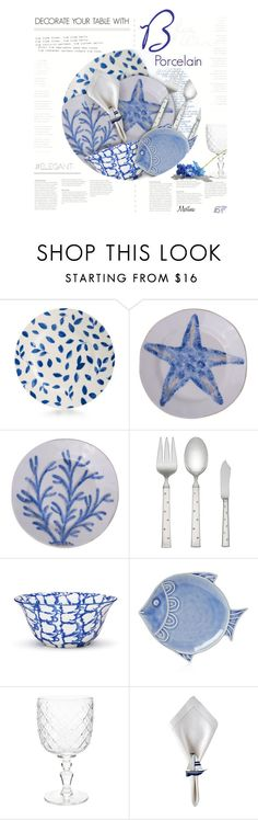 """Blue & White Porcelain"" by thewondersoffashion ❤ liked on Polyvore featuring interior, interiors, interior design, home, home decor, interior decorating, Martha Stewart, Flamant, Kate Spade and Tory Burch"