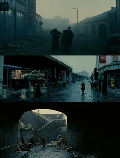 Children of Men / Streets d. Alfonso Cuaròn, d. Movie Shots, Fun Shots, Cinematic Photography, Film Photography, Movie Color Palette, Cinematic Lighting, Children Of Men, Film Story, Light Film
