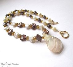 Pearl Necklace with Gold Beads and Mother of Pearl Pendant handmade jewelry by RoughMagicCreations #jewelryonetsy #pearls