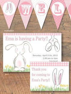 Easter Bunny party DIY printable PDF for Easter by LulalooCards
