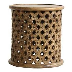 Tribal Carved Wood Accent Table by World Market; Really solid & so stylish. A favorite element in my new living room! Coastal Nursery, Nursery Neutral, Lattice Design, Wood Accents, World Market, New Living Room, Living Spaces, Furniture Manufacturers, End Tables