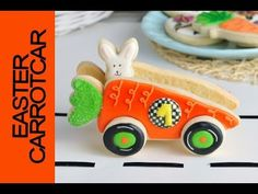 I made Cookie Car out of carrot cookies. In this video I show you how to decorate and construct this fun cookie piece. Montreal Confection - Spring Lamb C. Car Cookies, Cookies For Kids, Easter Cookies, Easter Candy, Easter Treats, Easter Food, April Easter, Happy Easter, Carrot Cars