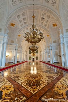The Hall of the Order of St. George in the Grand Kremlin Palace in Moscow, Russia (1849)
