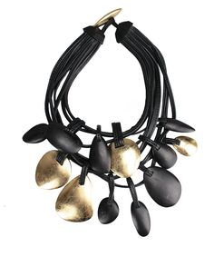 Monies Ebony Wood Leather and Golf Foil Necklace in Black | Lyst