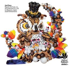 The most amazing balloon sculptures are created during the World Balloon Convention competitions. Here is the owl that won 2nd  place for Large Sculpture in 2014.