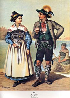 Here is an image painted by Albert Kretschmer in the latter mid 1800's of the costume as it was worn at that time. We do not know the exact year that it was painted, but it was published somewhere between 1877 and 1890.
